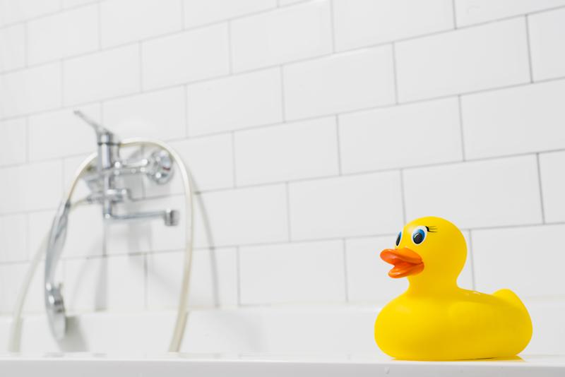 Beware the innocent-looking, squeezable rubber duck, which can actually collect water inside that collects mold, posing risk to the eyes of tiny bathers, as mom and writer Eden Strong found out the hard way. (Photo: Getty Images)