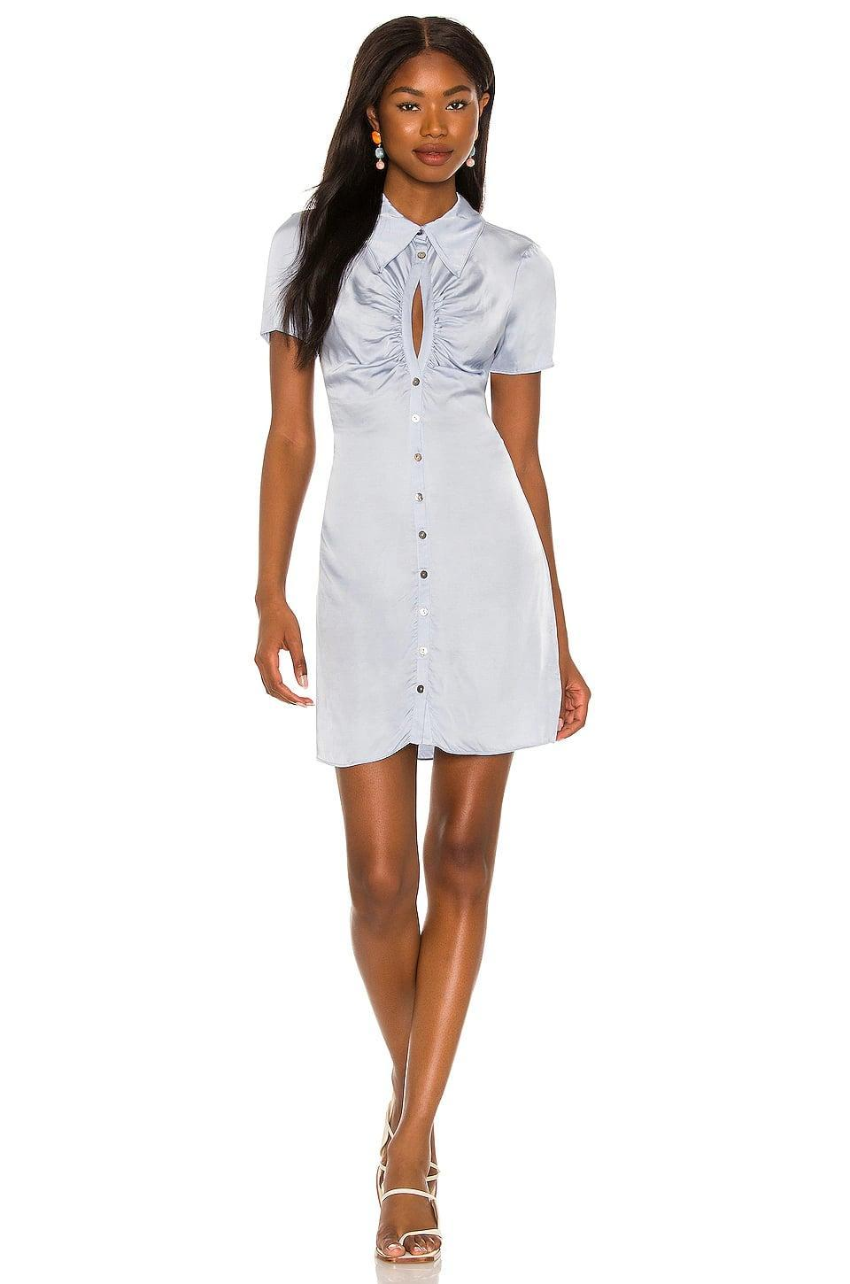 <p>This light-blue <span>Song of Style Lily Mini Dress</span> ($208) is gorgeous. We're into the cutout and ruching at the chest.</p>