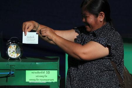A voter casts their ballot as they vote at a polling station during the general election in Bangkok, Thailand, March 24, 2019. REUTERS/Athit Perawongmetha
