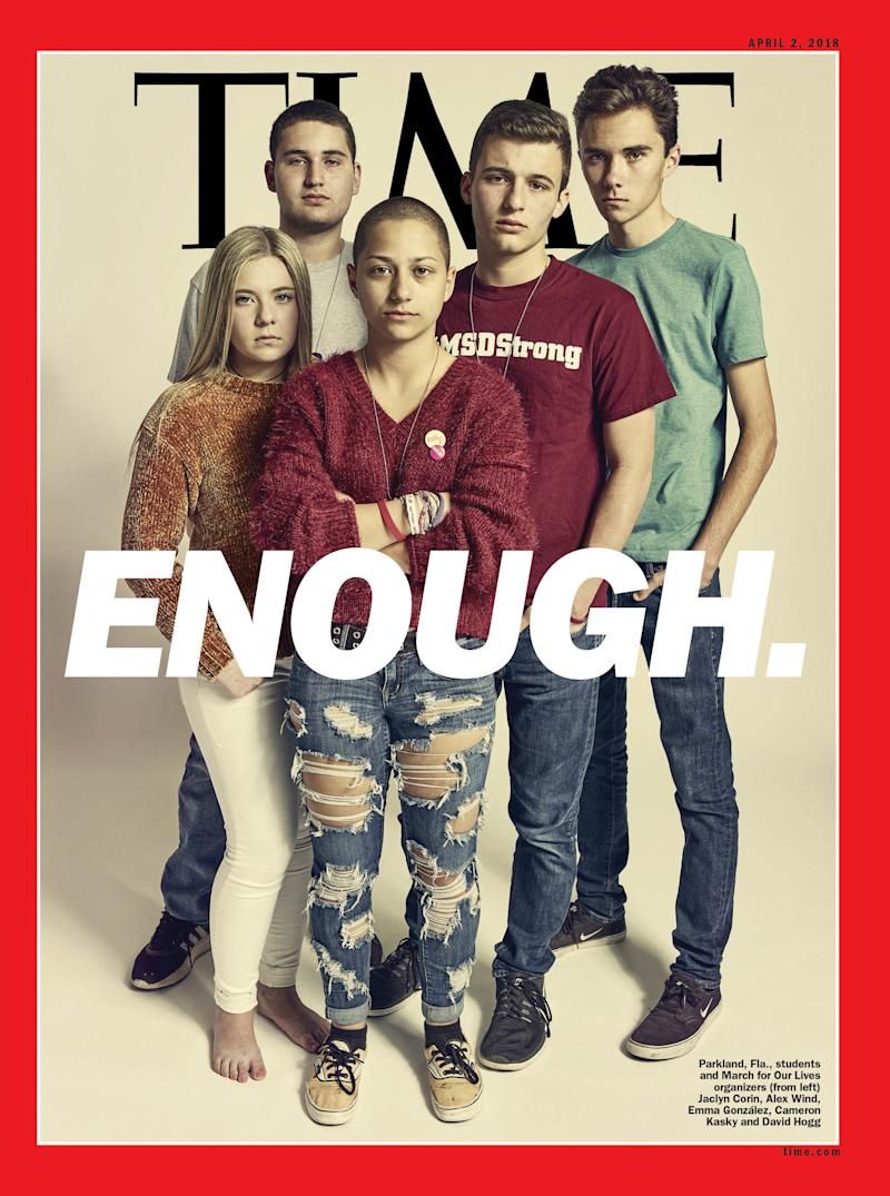 Parkland students and March for Our Lives organizers Jaclyn Corin (L), Alex Wind, Emma González, Cameron Kasky and David Hogg.