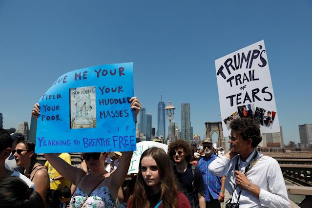 "<p>Demonstrators cross the Brooklyn Bridge during ""Keep Families Together"" march to protest Trump administration's immigration policy in New York, June 30, 2018. (Photo: Shannon Stapleton/Reuters) </p>"
