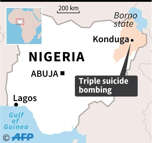 Map of Nigeria locating the town of Konduga, hit by a triple suicide bombing late Sunday (AFP Photo/AFP)