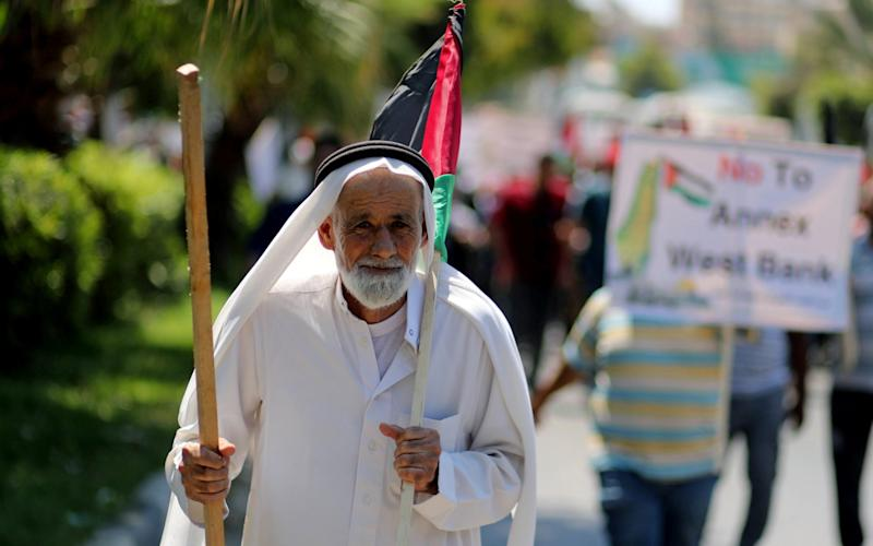 Palestinian protest annexation of the West Bank, which is due to take place in the coming weeks - Reuters