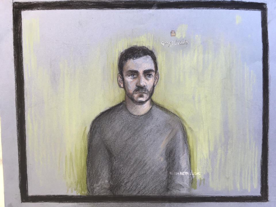 Court artist sketch shows lorry driver Maurice Robinson, 25, on a video-link at Chelmsford Magistrates' Court (Picture: AP)