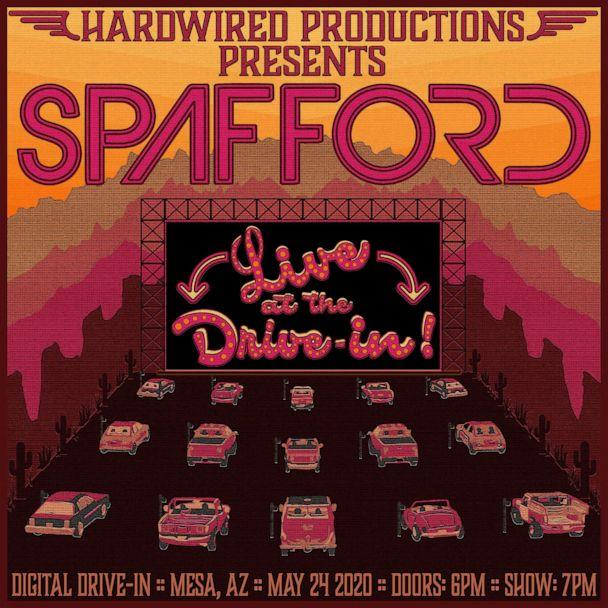 PHOTO: A poster for the 1st ticketed concert at a drive-in movie theater featuring the band Spafford. (Courtesy Spafford)