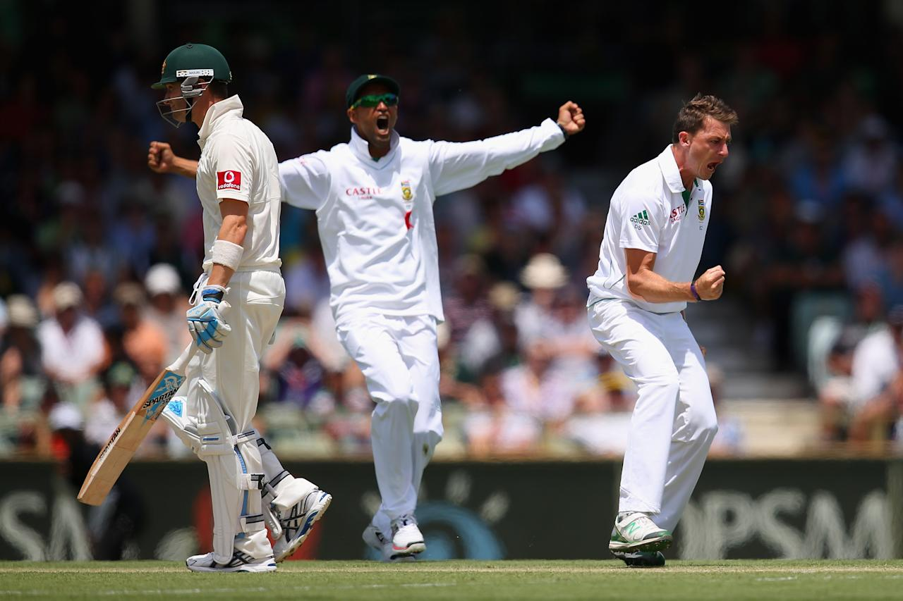 PERTH, AUSTRALIA - DECEMBER 01:  Dale Steyn of South Africa celebrates dismissing Australian captain Michael Clarke during day two of the Third Test Match between Australia and South Africa at the WACA on December 1, 2012 in Perth, Australia.  (Photo by Cameron Spencer/Getty Images)