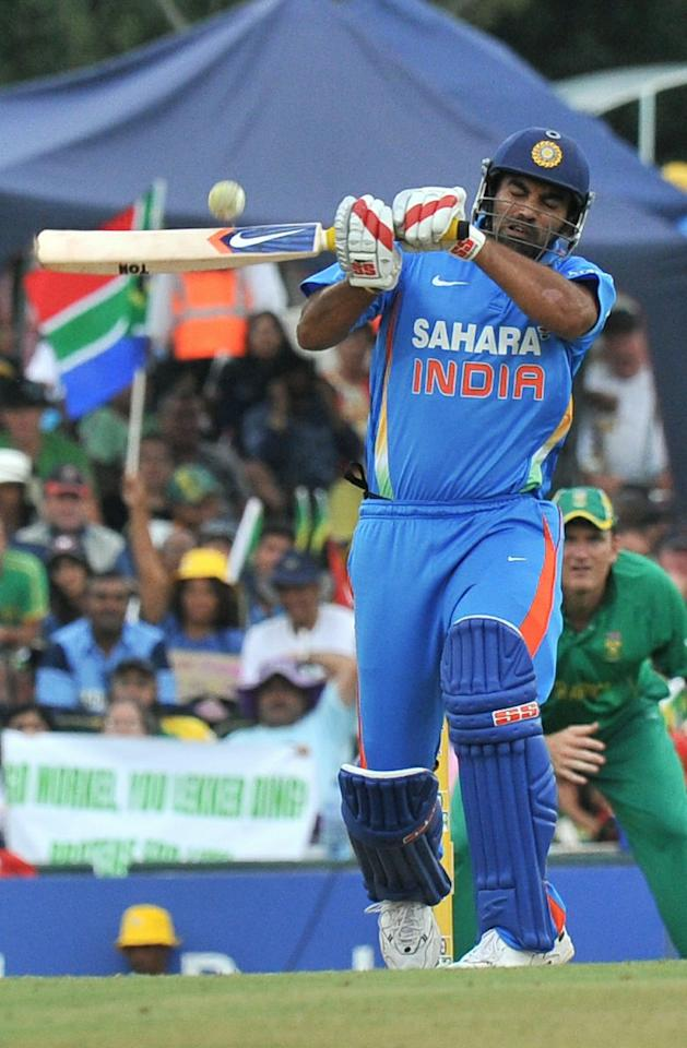 Indian Zaheer Khan plays a high ball during the 5th and final One Day International (ODI) between India and South Africa at Super Sports Park in Centurion on January 23, 2011. AFP PHOTO / ALEXANDER JOE (Photo credit should read ALEXANDER JOE/AFP/Getty Images)