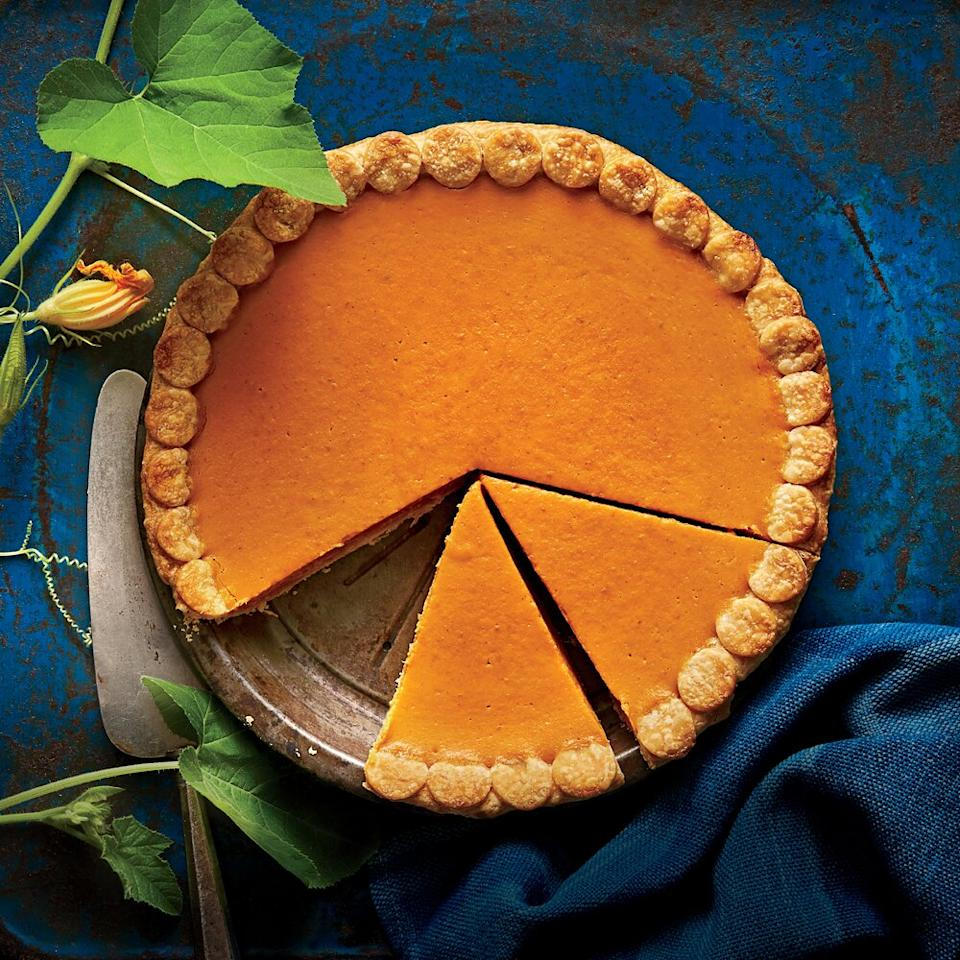 """<p>TIP: For a crisp crust (no more soggy bottom!), use a metal pie pan and prebake your crust with pie weights.</p> <p><a href=""""https://www.myrecipes.com/recipe/our-easiest-pumpkin-pie-ever"""">Our Easiest Pumpkin Pie Ever Recipe</a></p>"""