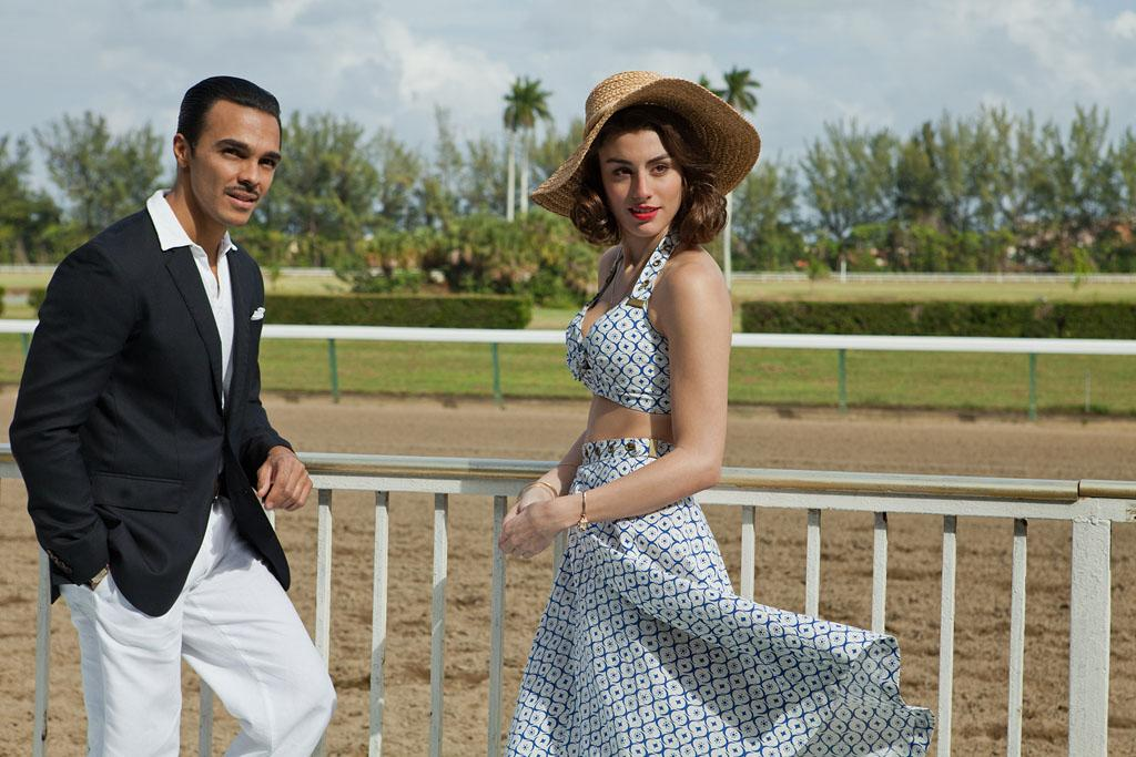 "Shalim Ortiz as Antonio Rivas and Dominik Garcia-Lorido as Mercedes Lazaro in ""Magic City"" Season 2."