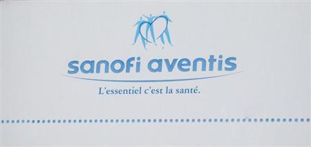 Logo of French drugmaker Sanofi-Aventis is seen on the facade of their headquarters in Paris