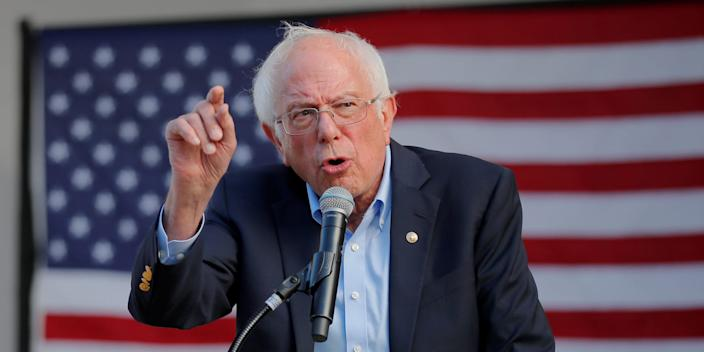 Sen. Bernie Sanders speaks at a campaign rally in Dover, New Hampshire, on September 1, 2019.