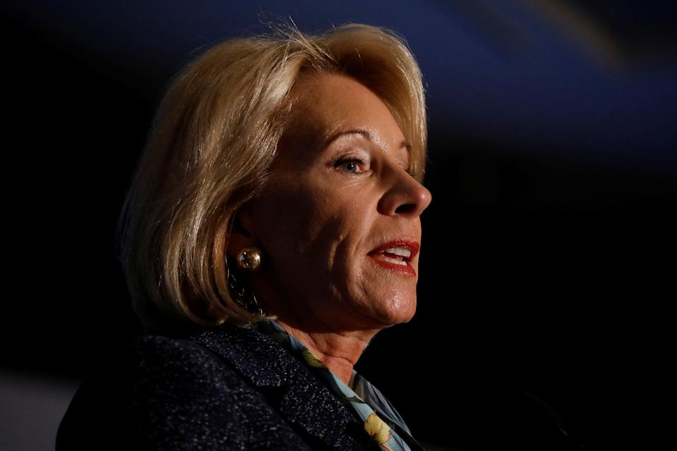 Secretary of Education Betsy DeVos delivers remarks about administration efforts to increase school safety at The National Parent-Teacher Association Legislative Conference in Arlington, VA, March 13, 2018. REUTERS/Aaron P. Bernstein