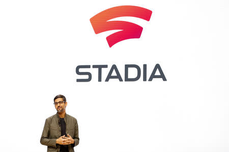 Google CEO Sundar Pichai speaks during a Google keynote address announcing a new video gaming streaming service named Stadia that attempts to capitalize on the company's cloud technology and global network of data centers, at the Gaming Developers Conference in San Francisco, California, U.S., March 19, 2019. REUTERS/Stephen Lam