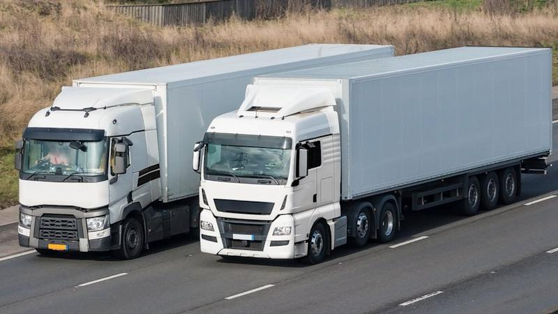 Two HGV lorries on a motorway