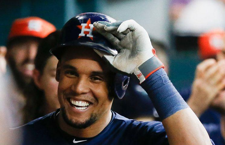 HOUSTON, TX - JUNE 05: Carlos Gomez #30 of the Houston Astros smiles in the dugout after hitting a home run in the fifth inning against the Oakland Athletics at Minute Maid Park on June 5, 2016 in Houston, Texas. (Photo by Bob Levey/Getty Images)