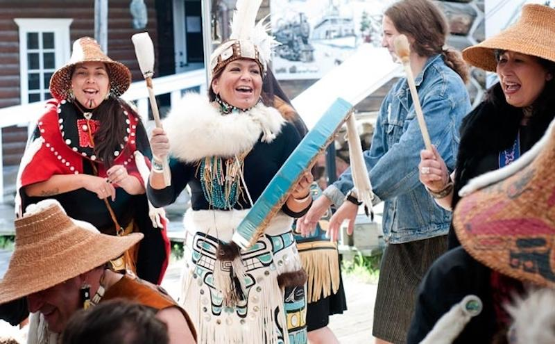 <p>Dakhká Khwáan Dancers are a Whitehorse-based group of renowned Tlingit performers whose work includes dance, storytelling and music. The group performs on July 2 at 2 p.m. ET at the NAC Atrium. Photo from National Arts Centre. </p>
