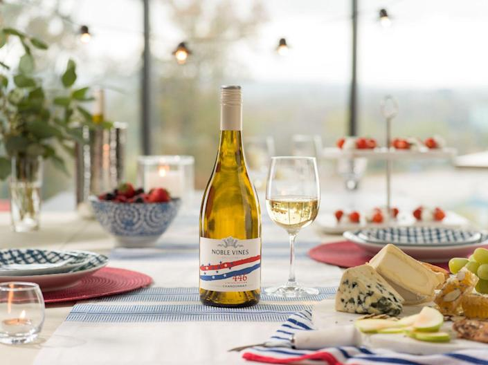 """<p>Short on time? You don't need to whip up a fancy cocktail to serve something festive en0ugh for your party. Scour your local liquor store for patriotic packaging, like this special edition Chardonnay from Noble Vines. </p><p><a class=""""link rapid-noclick-resp"""" href=""""https://go.redirectingat.com?id=74968X1596630&url=https%3A%2F%2Fdrizly.com%2Fwine%2Fwhite-wine%2Fchardonnay%2Fnoble-vines-446-chardonnay%2Fp17130&sref=https%3A%2F%2Fwww.oprahdaily.com%2Flife%2Ffood%2Fg36364209%2Ffourth-of-july-drinks%2F"""" rel=""""nofollow noopener"""" target=""""_blank"""" data-ylk=""""slk:SHOP WINE"""">SHOP WINE</a></p>"""