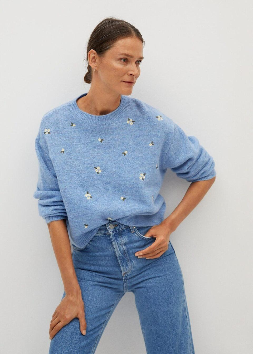 "<a href=""https://fave.co/3kDW6KS"" target=""_blank"" rel=""noopener noreferrer"">This embroidered sweater</a> is available in sizes XS to XL in two colors. Find it for $60 at <a href=""https://fave.co/3kDW6KS"" target=""_blank"" rel=""noopener noreferrer"">Mango</a>."