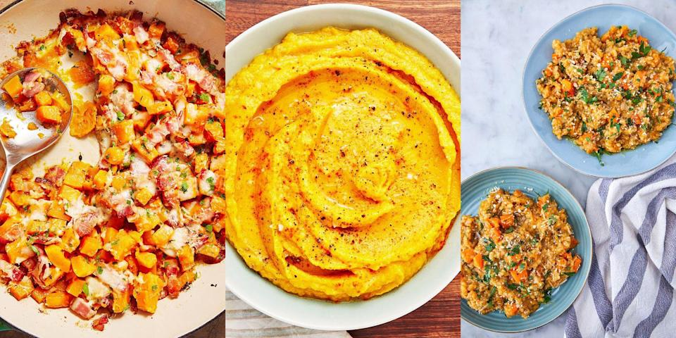 """<p>Butternut squash is a versatile vegetable - it can be <a href=""""https://www.delish.com/uk/food-news/a29733823/how-to-roast-butternut-squash/"""" rel=""""nofollow noopener"""" target=""""_blank"""" data-ylk=""""slk:roasted"""" class=""""link rapid-noclick-resp"""">roasted</a>, boiled, steam or cooked whole and turned into a whole host of dishes from <a href=""""https://www.delish.com/uk/cooking/recipes/g29869350/healthy-soup-recipes/"""" rel=""""nofollow noopener"""" target=""""_blank"""" data-ylk=""""slk:healthy soups"""" class=""""link rapid-noclick-resp"""">healthy soups</a> to comforting <a href=""""https://www.delish.com/uk/cooking/recipes/g33642767/easy-pasta-recipes/"""" rel=""""nofollow noopener"""" target=""""_blank"""" data-ylk=""""slk:pasta dishes"""" class=""""link rapid-noclick-resp"""">pasta dishes</a>. We're talking <a href=""""https://www.delish.com/uk/cooking/recipes/a29841144/butternut-squash-sweet-potato-soup/"""" rel=""""nofollow noopener"""" target=""""_blank"""" data-ylk=""""slk:Butternut Squash and Sweet Potato Soup"""" class=""""link rapid-noclick-resp"""">Butternut Squash and Sweet Potato Soup</a>, <a href=""""https://www.delish.com/uk/cooking/recipes/a31147395/butternut-squash-brown-butter-recipe/"""" rel=""""nofollow noopener"""" target=""""_blank"""" data-ylk=""""slk:Brown Butter Butternut Squash Pasta"""" class=""""link rapid-noclick-resp"""">Brown Butter Butternut Squash Pasta</a> and even <a href=""""https://www.delish.com/uk/cooking/recipes/a30014612/cheesy-bacon-butternut-squash-recipe/"""" rel=""""nofollow noopener"""" target=""""_blank"""" data-ylk=""""slk:Cheesy Bacon Butternut Squash"""" class=""""link rapid-noclick-resp"""">Cheesy Bacon Butternut Squash</a> (what a combo). Need some inspo? Here are some of our favourite ways to cook with butternut squash. </p>"""