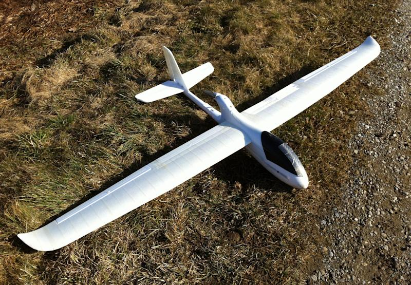 In this March 1, 2012 photo released by ConservationDrones.org., a drone developed by conservation drone pioneer Lian Pin Koh of the Swiss Federal Institute of Technology and partner Serge Wich is shown in Zurich, Switzerland. This year, they have flown more than 200, mostly test runs in Asia using an improved 2.0 version with a 2-meter (6.5 foot) wing span, air time of 45 minutes and a 25-kilometer (15.5-mile) range to track endangered wildlife, spot poachers and chart forest loss. (AP Photo/Lian Pin Koh, ConservationDrones.org) NO SALES, EDITORIAL USE ONLY