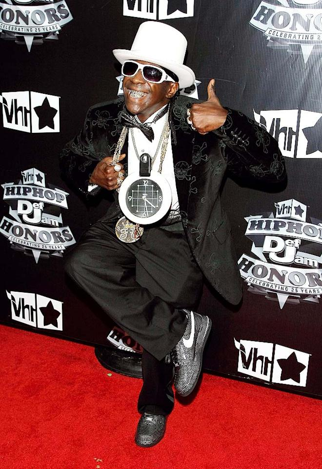 "Flavor Flav knows what time it is: time for the 2009 VH1 Hip Hop Honors at the Brooklyn Academy of Music, boooyeee! Jemal Countess/<a href=""http://www.wireimage.com"" target=""new"">WireImage.com</a> - September 23, 2009"