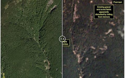 <span>This before-and-after images courtesy of Planet, show a closer view of the Punggye-ri test site</span> <span>Credit: AFP </span>