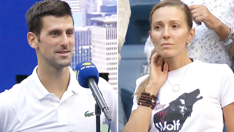 Novak Djokovic, pictured here opening up about his wife's support at the US Open.