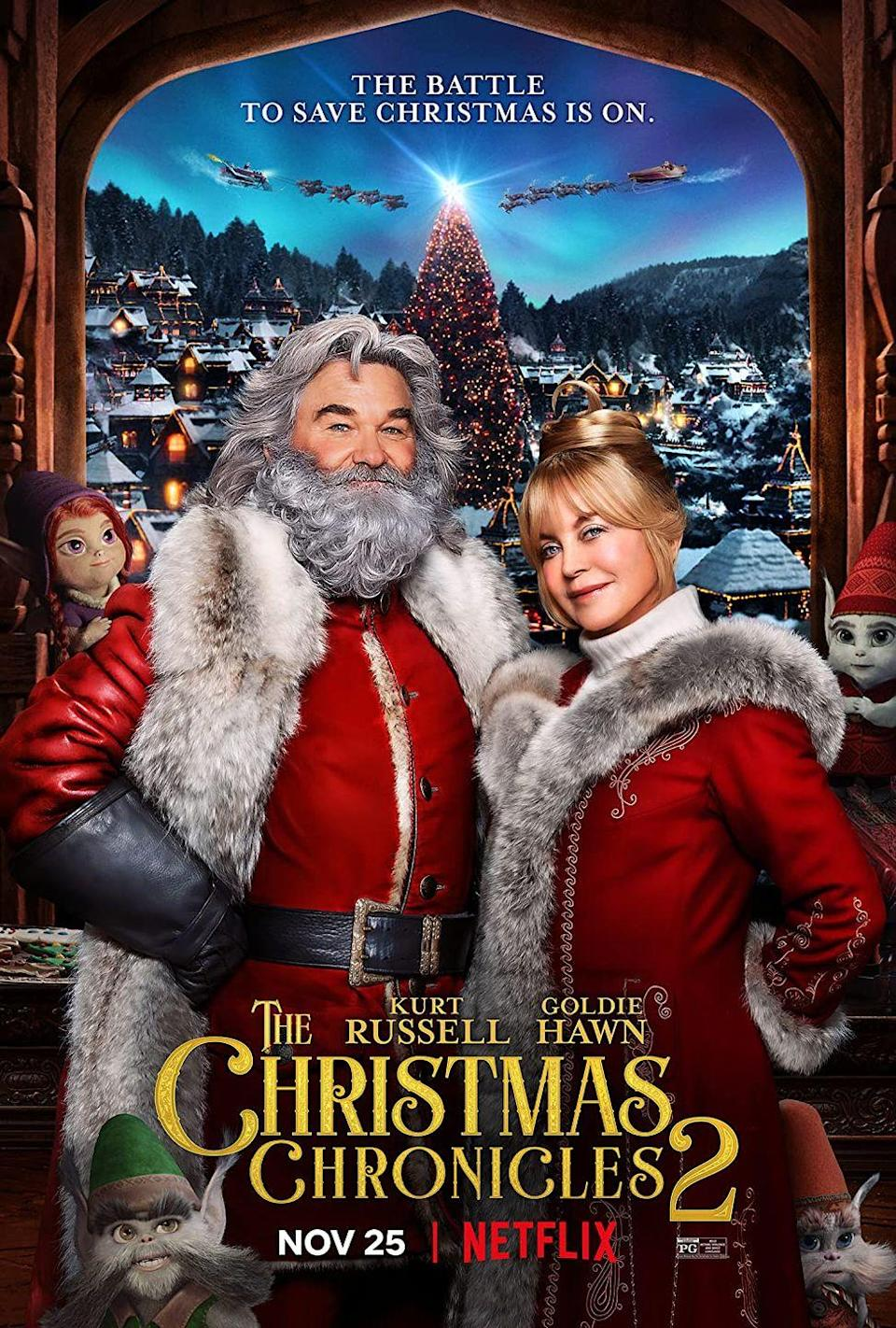 """<p>The Clauses (played by better halves in real life <em>and</em> the North Pole, Kurt Russell and Goldie Hawn) are unexpectedly reunited with those kids who gave them so much trouble in the first <em>Christmas Chronicles</em> film when the holiday is threatened to be cancelled forever.</p><p><a class=""""link rapid-noclick-resp"""" href=""""https://www.netflix.com/title/80988988"""" rel=""""nofollow noopener"""" target=""""_blank"""" data-ylk=""""slk:Watch Now"""">Watch Now</a></p>"""