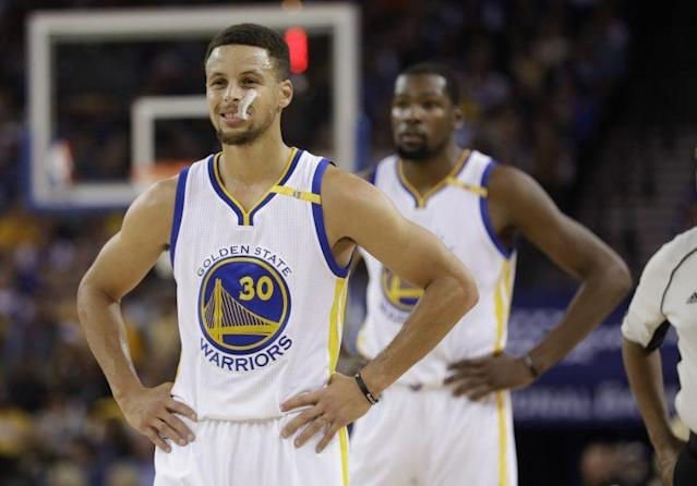 "The Warriors have max contracts looming over their shoulder for both <a class=""link rapid-noclick-resp"" href=""/nba/players/4612/"" data-ylk=""slk:Stephen Curry"">Stephen Curry</a> and Kevin Durant. (AP)"
