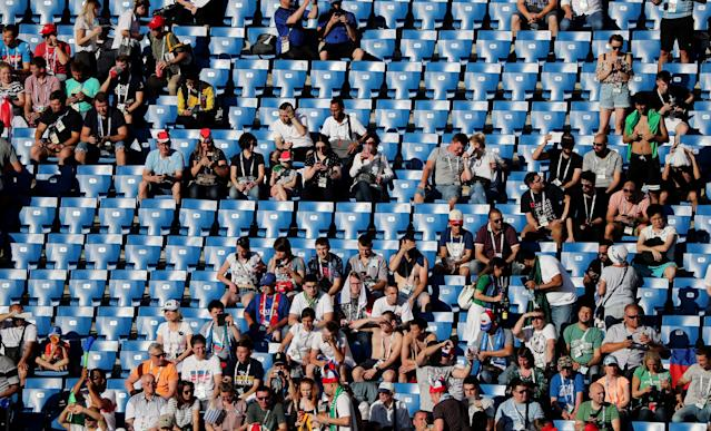Soccer Football - World Cup - Group A - Uruguay vs Saudi Arabia - Rostov Arena, Rostov-on-Don, Russia - June 20, 2018 Fans inside the stadium before the match REUTERS/Marcos Brindicci