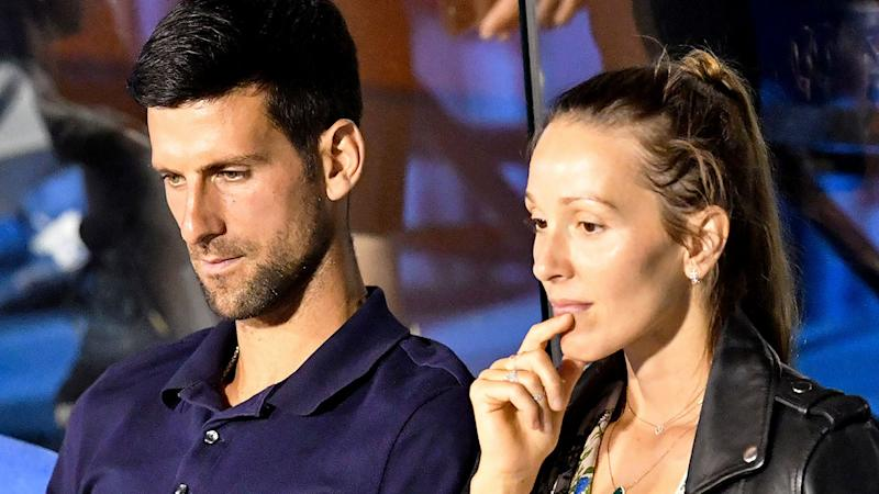 Seen here at the Adria Tour event are Novak and his wife Jelena Djokovic.