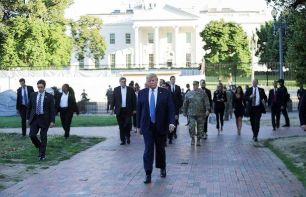 PHOTO: President Donald Trump walks through Lafayette Park to visit St. John's Episcopal Church across from the White House during ongoing protests over racial inequality in the wake of the death of George Floyd, at the White House, June 1, 2020. (Tom Brenner/Reuters)