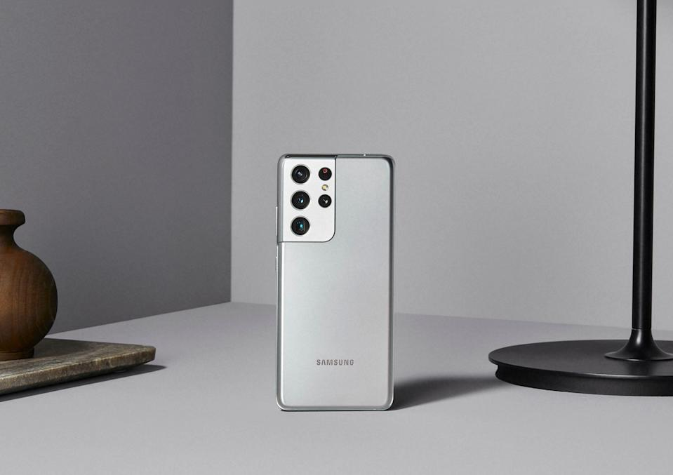 The Samsung Galaxy S21 Ultra has five cameras -- four on the rear, including a dual-telephoto lens, and one in front.The device is available Jan. 29.