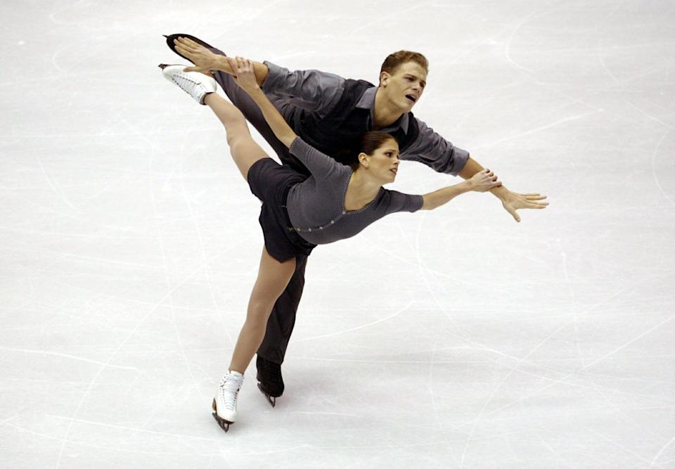 11 Feb 2002: Jamie Sale and David Pelletier of Canada compete in the pair's free program during the Salt Lake City Winter Olympic Games at the Salt Lake Ice Center in Salt Lake City, Utah. DIGITAL IMAGE. Mandatory Credit: Gary M. Prior/Getty Images
