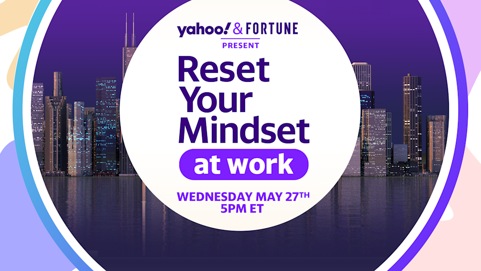 """""""Reset Your Mindset at Work"""" will appear on Yahoo Finance on Wednesday at 5pm."""