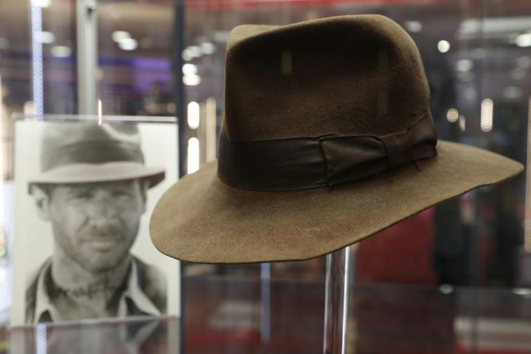 The fedora worn by Harrison Ford's character Indiana Jones in the 'Indiana Jones and the Raiders of the Lost Ark' film is on show in London ahead of auction