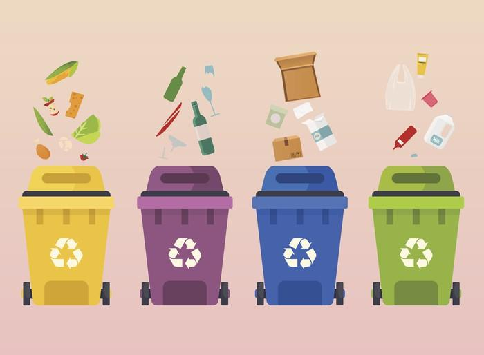 Picture of Recycling Cans with Sorted Garbage
