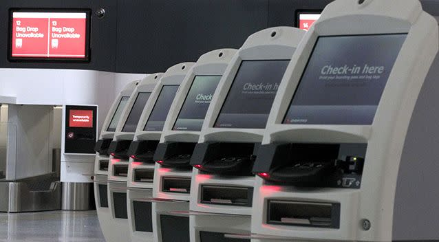 Check-in kiosks were found to be the germiest surface at the airport, with one screen alone recording more than one million CFU. Source: AAP