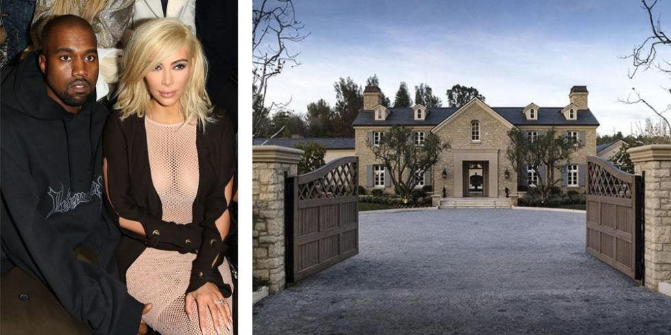 "<p>After abandoning their unlived-in <a rel=""nofollow"" href=""http://www.elledecor.com/celebrity-style/celebrity-homes/news/a6645/kim-kardashian-kanye-west-bel-air-mansion/"">9,000-square-foot mansion</a> when the renovations became too much, Kimye bought this <a rel=""nofollow"" href=""http://www.elledecor.com/celebrity-style/celebrity-homes/news/a6749/kim-kanye-hidden-hills-mansion/"">$20 million estate</a> in Hidden Hills. The eight-bedroom home is equipped with two pools, two spas and even its own vineyard.</p>"