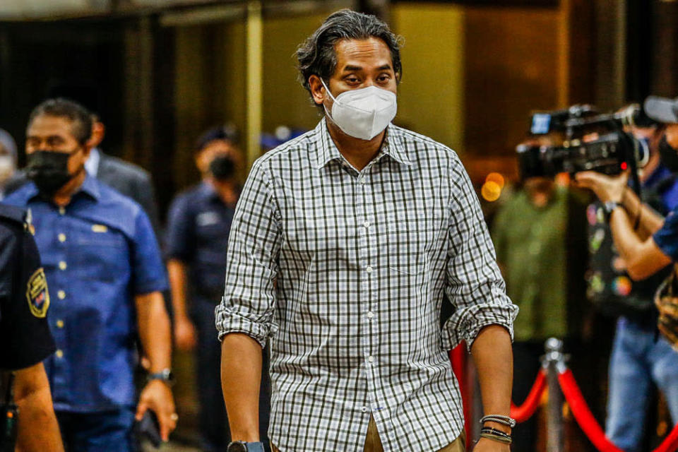 Rembau MP Khairy Jamaluddin seen at Umno headquarters, August 17, 2021. — Picture by Hari Anggara