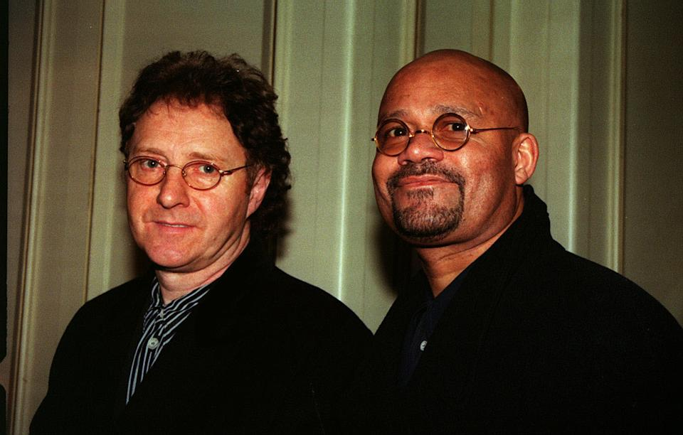 PA NEWS 10/3/98 ACTORS MICHAEL JACKSON (LEFT) AND LOUIS EMERICK, WHO PLAY OLLIE SIMPSON AND MICK JOHNSON RESPECTIVELY IN THE TELEVISION PROGRAMME 'BROOKSIDE', AT THE GROSVENOR HOUSE HOTEL FOR THE 1998 TELEVISION AND RADIO AWARDS.