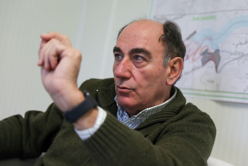 FILE PHOTO: Iberdrola CEO, Jose Ignacio Galan, gestures during an interview with Reuters in Daivoes dam construction site, near Ribeira da Pena