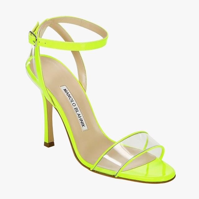 Manolo Blahnik leather and PVC heeled sandal, $795, saks.com