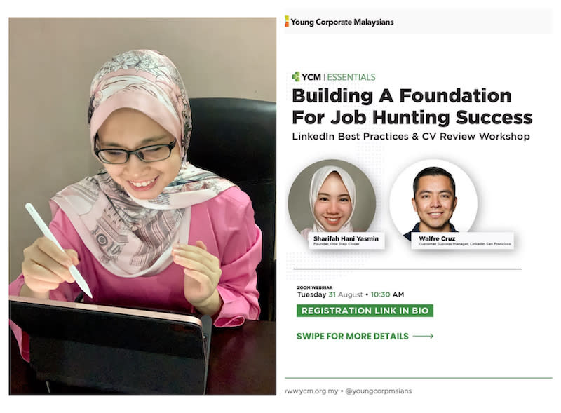 Awatif Ghapar (left), a mentor checking an applicant's resume while Sharifah (right) has been partnering with industry leaders to conduct online workshops. — Pictures courtesy of Sharifah Hani Yasmin