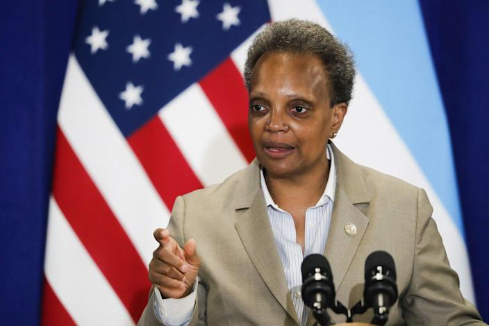 Chicago Mayor Lori Lightfoot at a press conference on June 15. (Jose M. Osorio/Chicago Tribune/TNS via Getty Images)