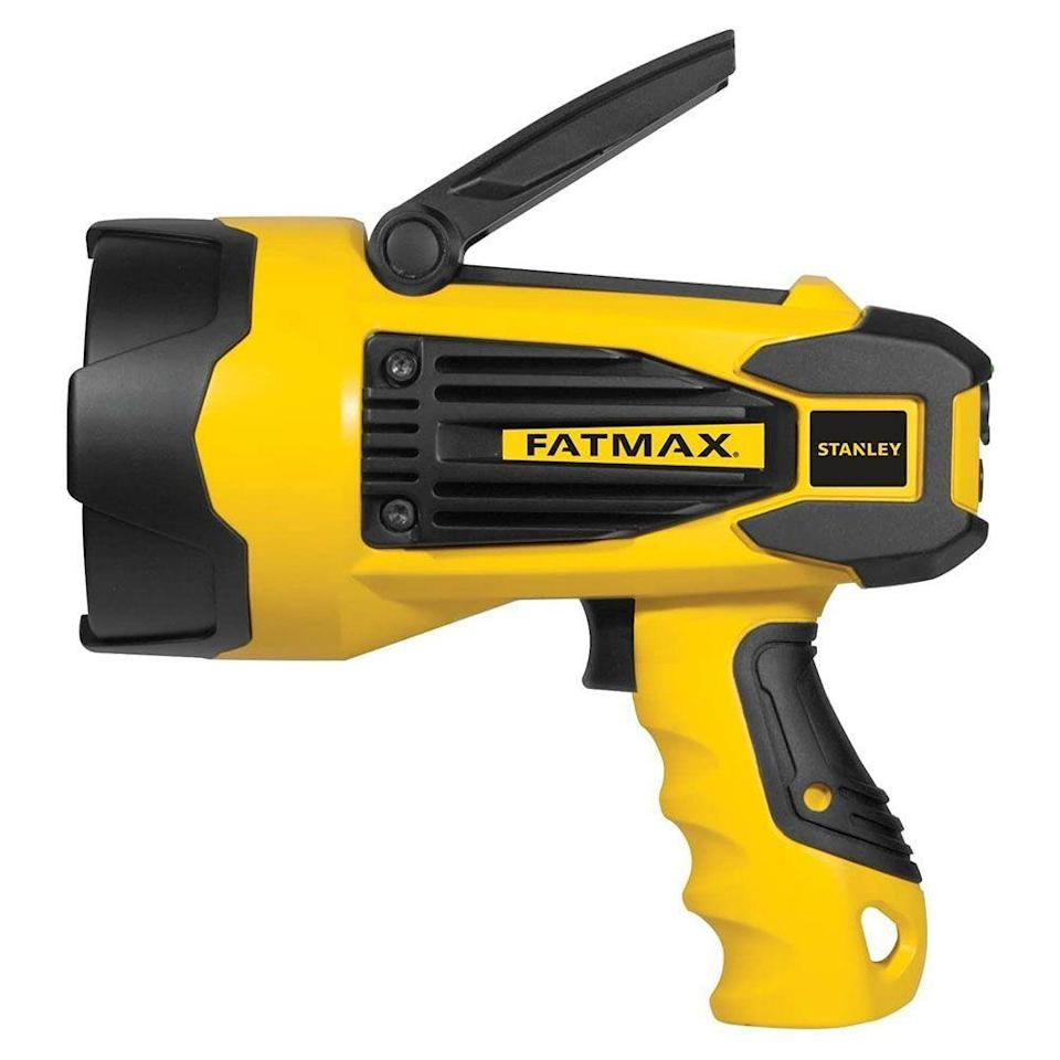 """<p><strong>Stanley</strong></p><p>amazon.com</p><p><strong>$50.69</strong></p><p><a href=""""https://www.amazon.com/dp/B00OU67Z80?tag=syn-yahoo-20&ascsubtag=%5Bartid%7C10060.g.37899122%5Bsrc%7Cyahoo-us"""" rel=""""nofollow noopener"""" target=""""_blank"""" data-ylk=""""slk:Shop Now"""" class=""""link rapid-noclick-resp"""">Shop Now</a></p><p><strong>Key Specs:</strong></p><ul><li><strong>Lumen</strong>: 2200</li><li><strong>Waterproof</strong>: N/A</li><li><strong>Weight</strong>: 1.4 pounds</li><li><strong>Runtime</strong>: 7 hours on low; 1 on high</li></ul><p>If you're looking for maximum brightness at a reasonable price, the Stanley FatMax and its 2,200-lumen output could be just what you're looking for. Its battery will stay charged for up to 12 months, making it well-suited for keeping in an emergency kit, and has a runtime of up to 7 hours on its lowest setting. </p><p>Our favorite feature of this spotlight is its collapsible pivoting stand, which combined with its locking trigger, makes it easy to place it on the ground and angle directly at your work area. A USB port also allows you to use it as a power source to charge your mobile device. </p>"""