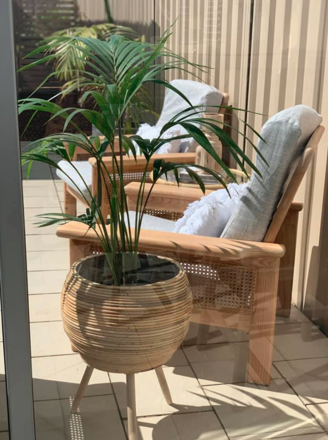 Outdoor ratten and grey furniture set
