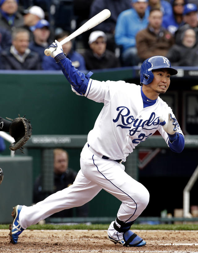 Kansas City Royals' Norichika Aoki watches his double during the fourth inning of a baseball game against the Chicago White Sox on Friday, April 4, 2014, in Kansas City, Mo. (AP Photo/Charlie Riedel)