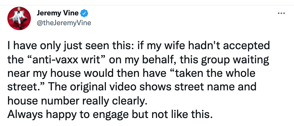 Vine shared a series of videos and tweets about the anti-vaxxers who showed up at his house. (Twitter/Jeremy Vine)