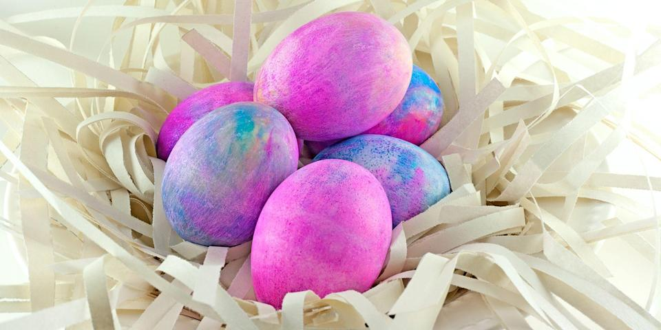 """<p>You're never too old for <a href=""""https://www.womansday.com/home/crafts-projects/g1751/easy-easter-crafts/"""" rel=""""nofollow noopener"""" target=""""_blank"""" data-ylk=""""slk:Easter crafts"""" class=""""link rapid-noclick-resp"""">Easter crafts</a>. Our favorite one? Dying Easter eggs of course! For some families, it's practically tradition to grab a dozen eggs and get dying. And for others, it was only something you did as a child. We think there's no age limit on Easter Egg dyeing, especially when you consider how fun it can be. Basic dip-dying techniques and paper appliques may have worked in your younger days, but as you get older,<strong> y</strong>ou may want to up the ante, and these shaving cream Easter eggs do just that.</p><p>This simple guide to dyeing Easter Eggs with shaving cream only has five steps, and makes little to no mess which means you'll have an easy clean up. It also uses everyday household items so you don't have to drop a dime on any extra ingredients. And if you needed any more reason than that, let's just say these tie-dye eggs turn out simply stunning. You can stick to monochromatic colors, or add in all the colors of the rainbow. Either way, they will turn out great. </p>"""